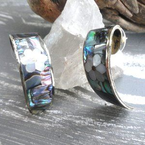 Abalone Shell Floral Earrings